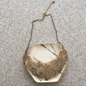 Gold Embroidery Statement Necklace